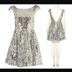 TOPSHOP Silver sequin skater dress with open back